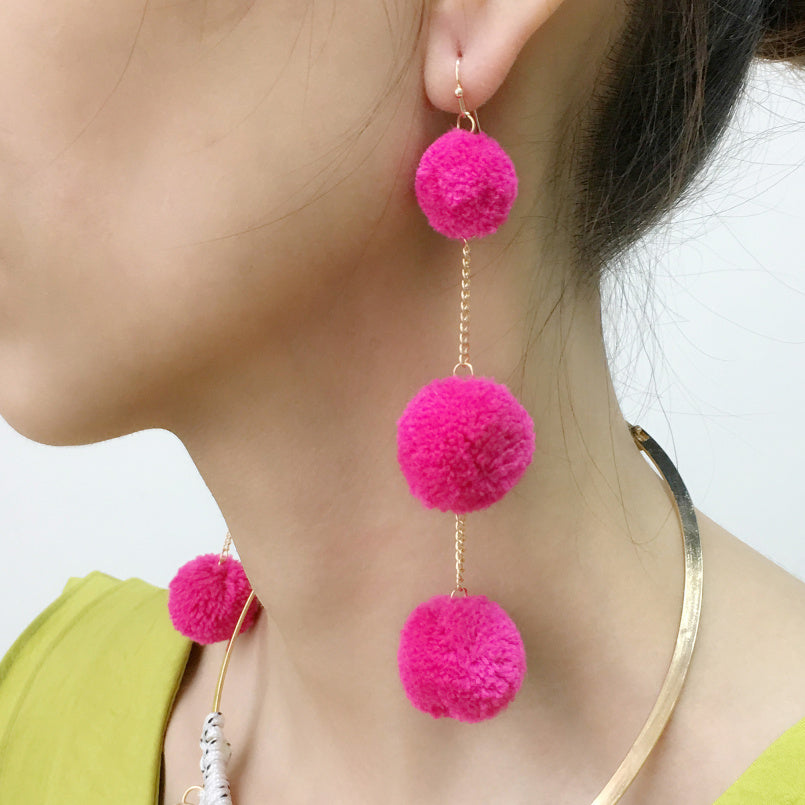 Cotton Ball Pendants Pom Pom Styled Earrings