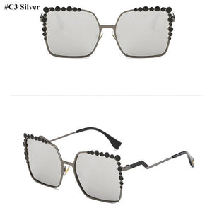 Oversized Aviation Square Sunglasses for Women embellished with colored rhinestone frame
