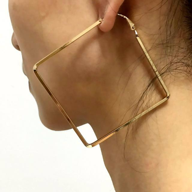 Big Boho Geometric Square Hoop Earrings For Women
