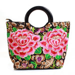 Vintage Embroidered Canvas Flower HandBag