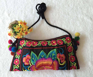 Vintage Handmade Embroidery Clutch Shoulder Handbag