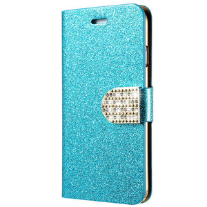 Luxury Glitter iPhone Case with a Wallet Stand and Credit Card Slots