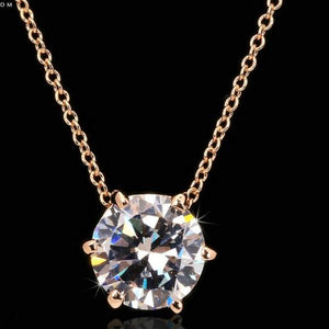 Multi Prongs Synthetic Crystal Rose Gold Color CZ Pendant Necklace