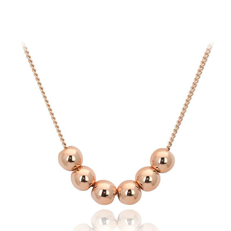Rose Gold Platinum Beaded Necklace