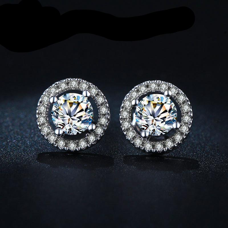 Classic Sliver Color 0.75 carat Cubic Zirconia Stud Earrings