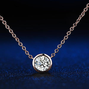 1 carat Cubic Zirconia Rose Gold Color Petite Pendant & Necklace