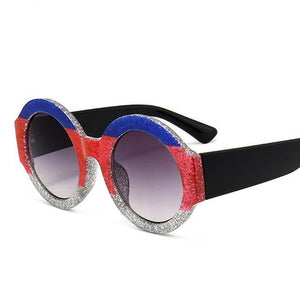 Oversized UV400 Round Framed Exquisite Sunglasses
