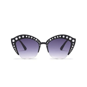 Rhinestone Cat Eye Sun Glasses with UV400 Protection