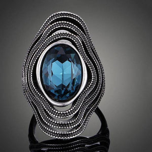 Antique Silver Color Blue Oval Cubic Zirconia Ring (US SIZE 6-9)