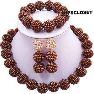African Beaded Simulated Pearl Jewelry Set