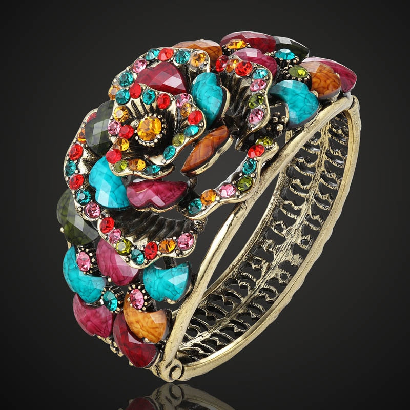 Multi-Colored Antique Vintage Flower Cuff Bangle