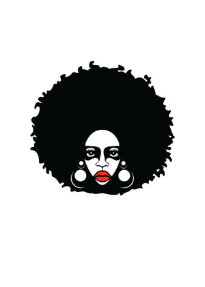 Women's Long Sleeve T-Shirt with Afro Woman Print