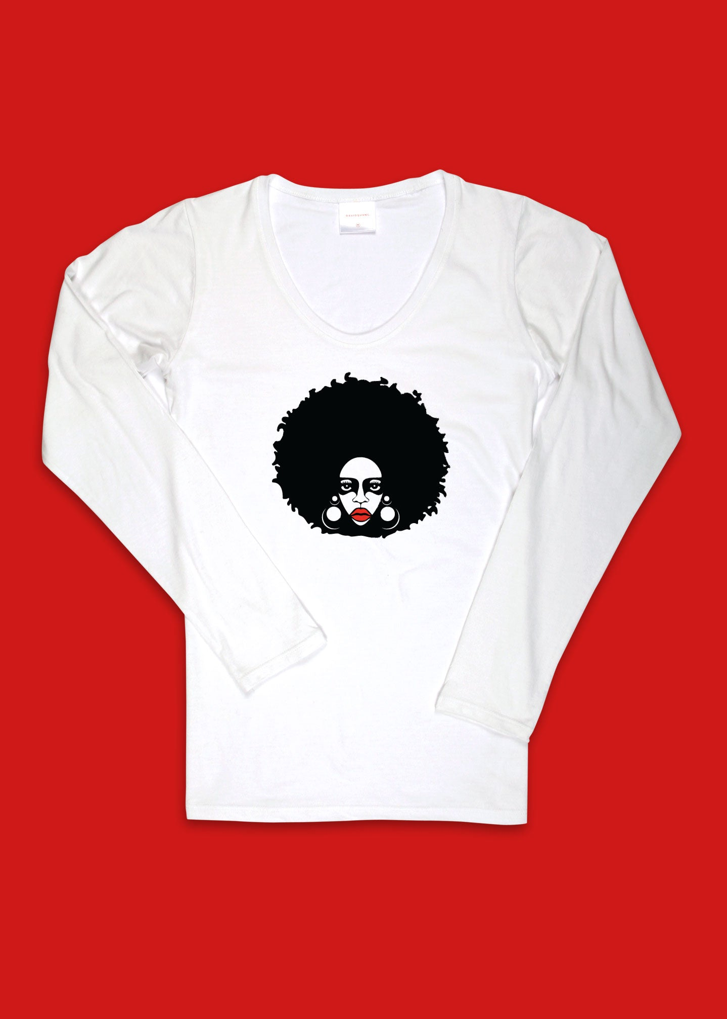 Women's Long Sleeve Scoop Neck T-Shirt with Afro Woman Print