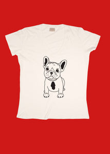 Women's Short Sleeve V-Neck T-Shirt with Frenchie Print