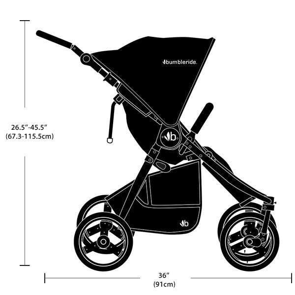 2017 Bumbleride Indie Twin Dimensions and Tech Specs - Profile/ Side View