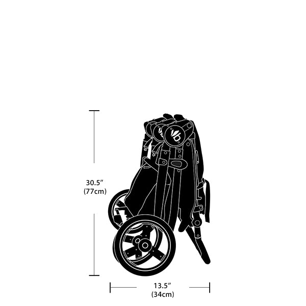 2020 Bumbleride Indie Twin Double Stroller Dimensions - Folded View