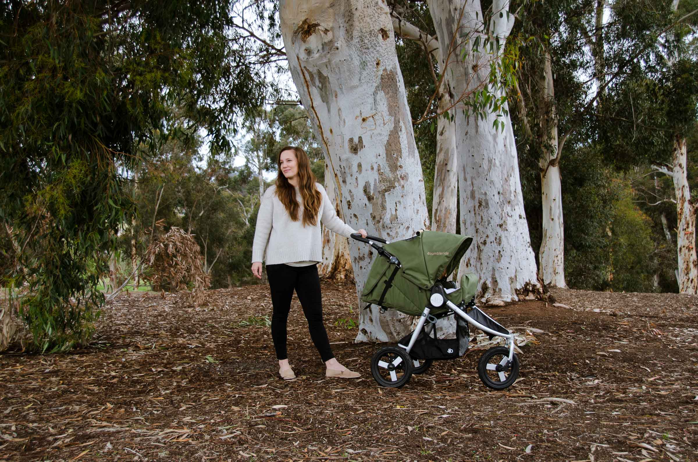 2019 Bumbleride Indie All Terrain Stroller in Camp Green in Infant Mode