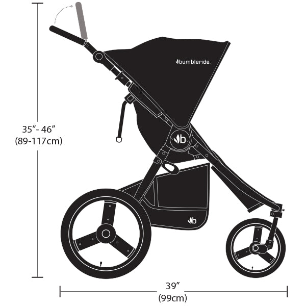 2020 Bumbleride Speed Dimensions - Side Profile View