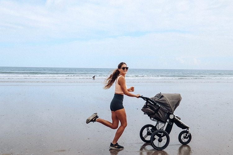 Mona Jane Hanemann with Speed Jogging Stroller in Dawn Grey Mint