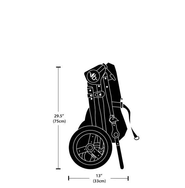 2020 Bumbleride Era Stroller Fold Dimensions Measurements - Folded Side View - Bumbleride Canada