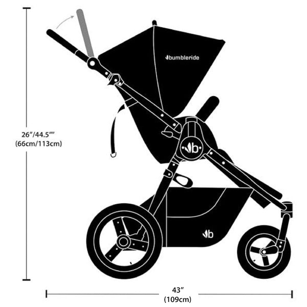 2021 Bumbleride Era Modular Stroller Dimensions Line Drawing Silhouette - Side View