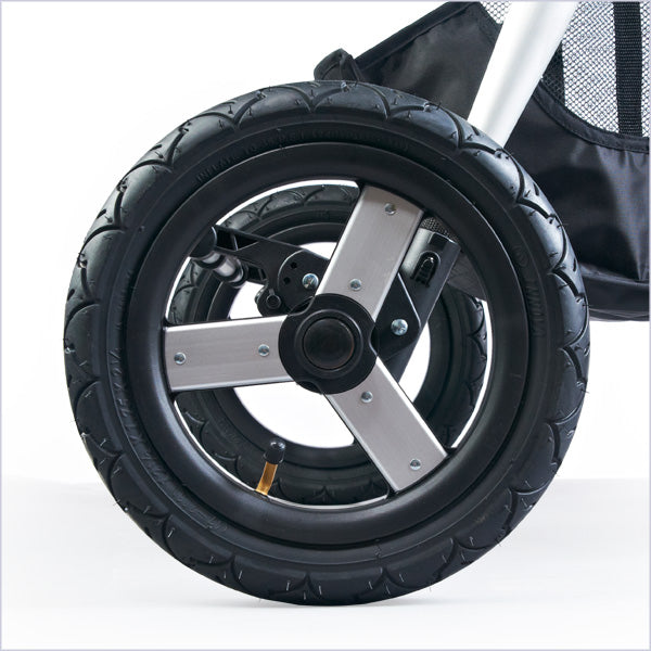 12 inch air filled tires with pump included - bumbleride indie twin double stroller