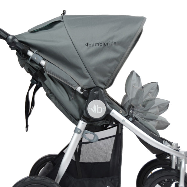 2017 Bumbleride Indie Twin double stroller with adjustable footrests, infant ready with infant mode