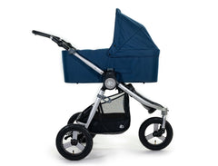2020 Bumbleride Indie All Terrain Stroller with Era/ Indie/ Speed Bassinet in Maritime Blue Attached (fabric removed, optional).