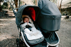 Organic Cotton Infant Insert on Bumbleride Indie Twin Double Stroller in Dawn Grey Coral