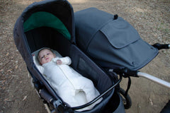 Bumbleride Indie Twin with Bassinet in Dawn Grey Mint and Organic Cotton Mattress Sheet Global