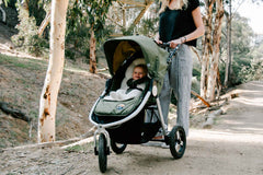 Organic Cotton Infant Insert on Bumbleride Indie All Terrain Stroller Camp Green 2