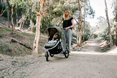 Organic Cotton Infant Insert on Bumbleride Indie All Terrain Stroller Camp Green
