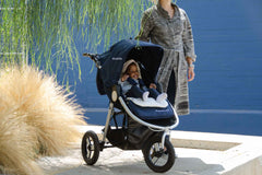 Organic Cotton Stroller Liner on Bumbleride Indie in Maritime Blue