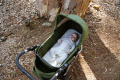 Organic Cotton Bassinet Sheet on Bumbleride Indie All Terrain in Camp Green