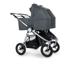 2020 Bumbleride Indie Twin Double Stroller with dual Indie Twin Bassinets in Dawn Grey Attached (fabric removal optional)- Global.