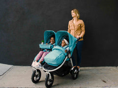 Bumbleride Indie Twin Double Stroller with Footmuff & Seat Liner and Snack Pack in Tourmaline Wave- Global
