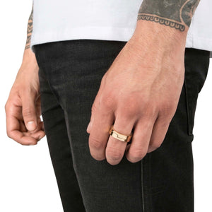 Vitaly Gridlock Ring, Gold Finish (Stainless Steel)