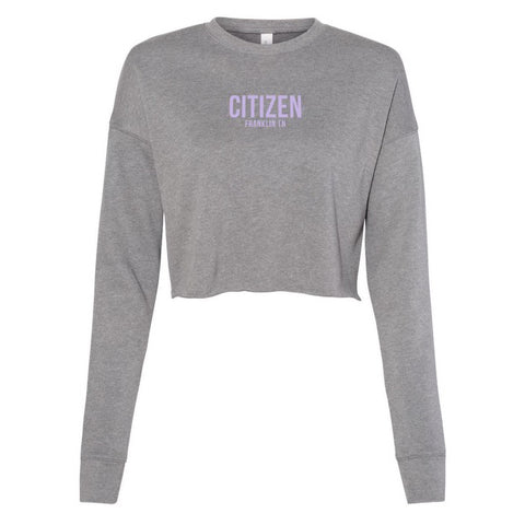 CITIZEN, Women's Cropped Logo Crew, Gray/Lavender