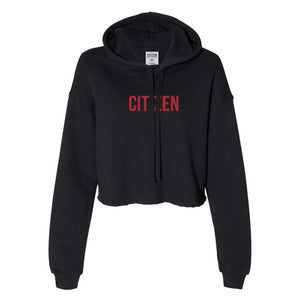 CITIZEN, Women's Cropped Logo Hoodie, Black/Red