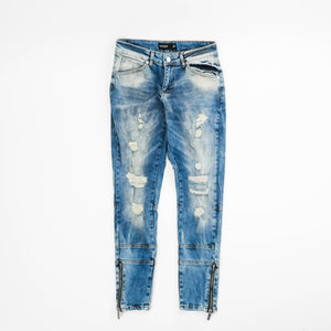 Vitaly Distressed Patched Everyday Denim, Electric Blue