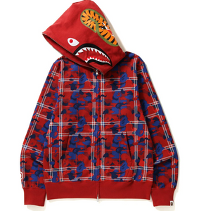 A Bathing Ape, Check Camouflage Shark Hoodie