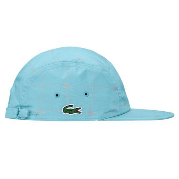 SUPREME x Lacoste Reflective Grid Nylon Camp Cap, Blue, ONE SIZE