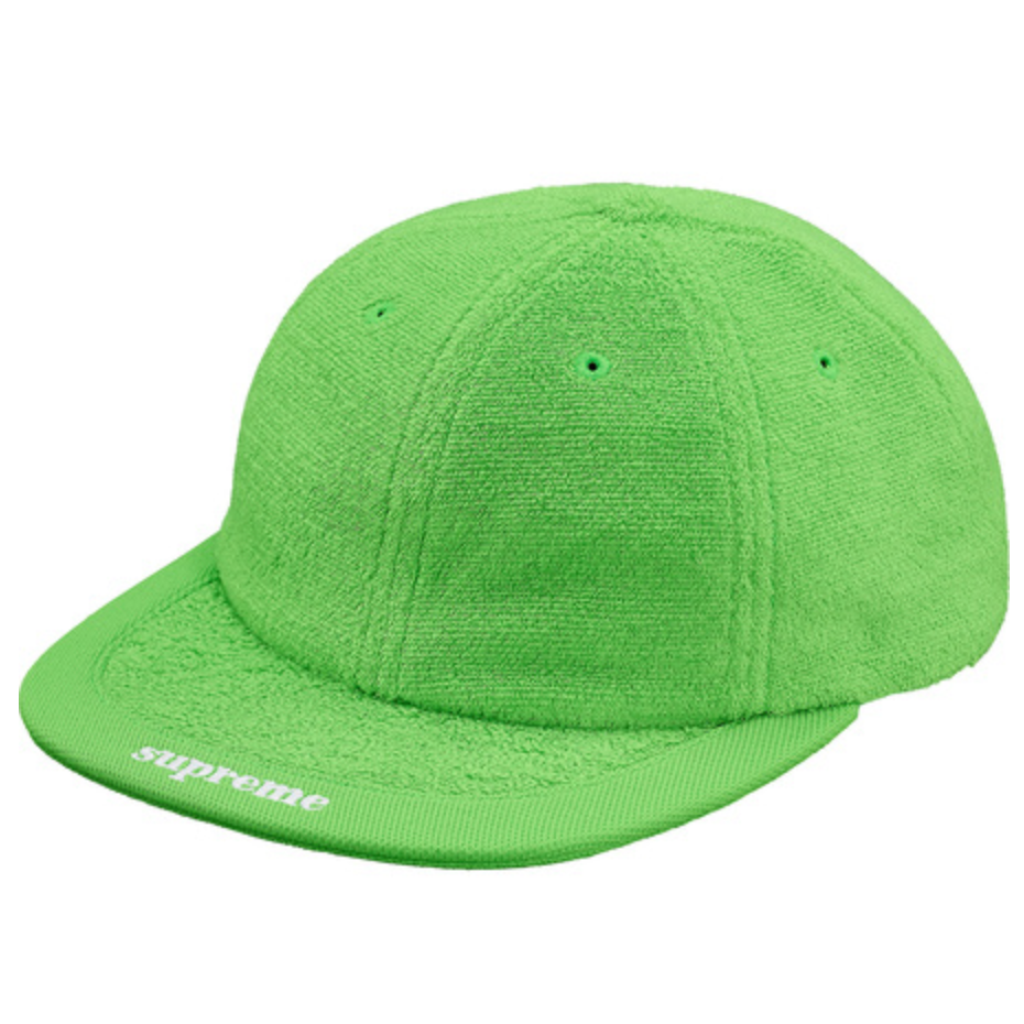 SUPREME Terry Visor Logo 6-Panel Hat, Lime ONE SIZE