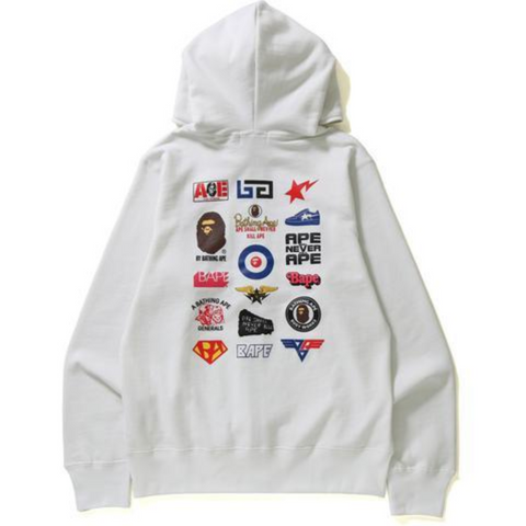 A Bathing Ape, Multi Logo Full Zip Hoodie, White