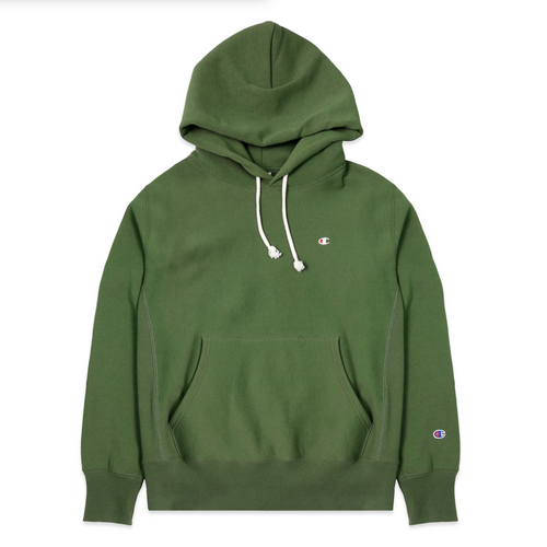 Champion Europe Reverse Weave Script Chest Logo Hooded Sweatshirt, Hiker Green