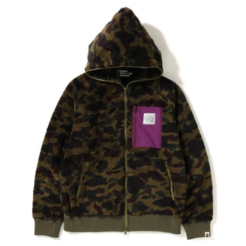 A Bathing Ape 1st Camo Boa Wide Full Zip Hoodie, Green Camouflage