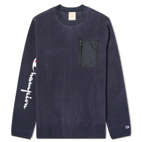 Champion Europe Reverse Weave Brushed Cotton Sleeve Script Crewneck Sweatshirt, Navy