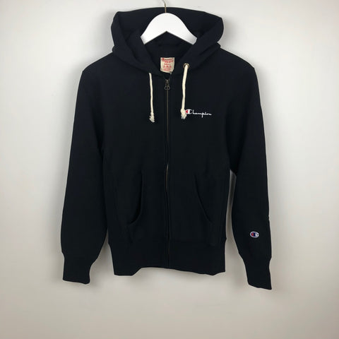 Champion Europe Reverse Weave Full Zip Hooded Sweatshirt, Black