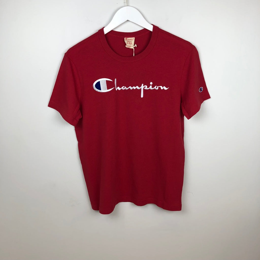 Champion Europe Reverse Weave Script S/S T-Shirt, Sideline Red