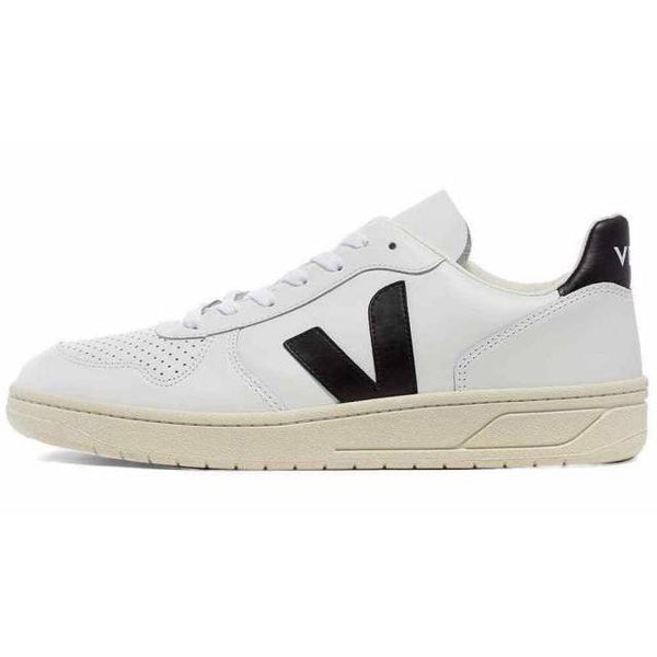 Veja Men's V-10 Leather, Extra White / Black